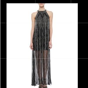 NWT Parker Shane Black Silver Beaded Dress Gown